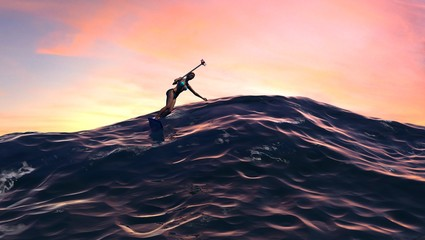 Surfer Girl With Selfie Stick at Sunset or Sunrise