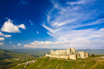 Syria. Crac des Chevaliers (Qal'at Al Hosn) - the most famous medieval Crusader fortress in the world - general view