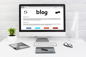 Blog Weblog Media Digital Dictionary Online Concepts.