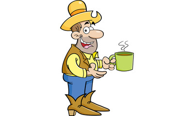 Cartoon illustration of a cowboy with a cup of coffee.