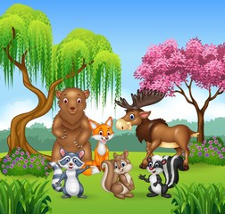 Happy animal collection in the jungle
