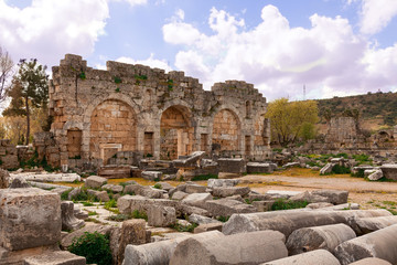 Ruins of Perge an ancient Anatolian city in Turkey.
