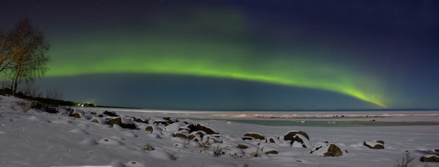 Northern lights over lake Ladoga Russia
