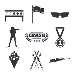 Biathlon icons set. Flat style design. Target, ski, gun, woman shooting silhouette.