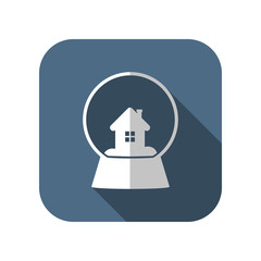 snowglobe with house vector icon