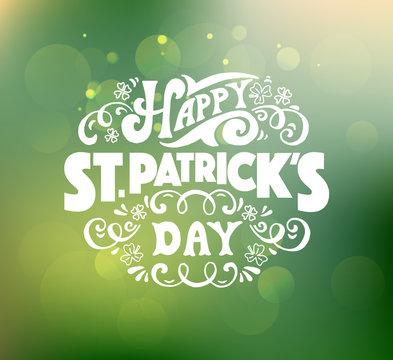 Hand sketched text 'Happy Saint Patrick's Day' on textured backg