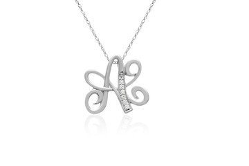 "Decorative Initial ""A"" Necklace with Flawless Diamonds in Silver"