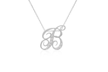 "Decorative Initial ""B"" Necklace with Flawless Diamonds in Silver"