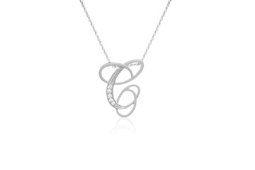 """Decorative Initial """"C"""" Necklace with Flawless Diamonds in Silver"""