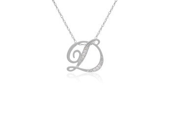 """Decorative Initial """"D"""" Necklace with Flawless Diamonds in Silver"""