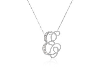 """Decorative Initial """"E"""" Necklace with Flawless Diamonds in Silver"""