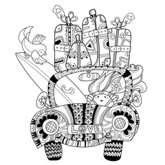 Hand drawn doodle outline holiday car travel decorated with ornaments.Vector zentangle illustration.Floral ornament.Sketch for tattoo or coloring pages.Boho style.