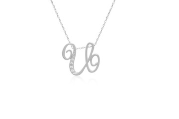 """Decorative Initial """"U"""" Necklace with Flawless Diamonds in Silver"""
