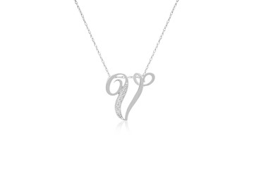 """Decorative Initial """"V"""" Necklace with Flawless Diamonds in Silver"""