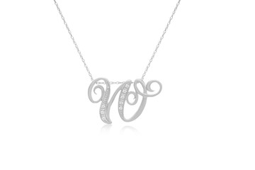 """Decorative Initial """"W"""" Necklace with Flawless Diamonds in Silver"""