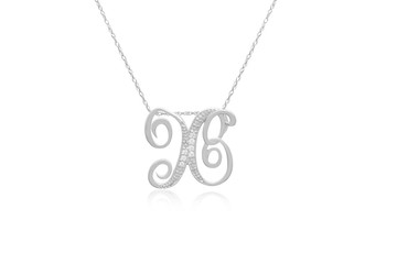"""Decorative Initial """"X"""" Necklace with Flawless Diamonds in Silver"""