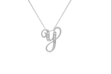 """Decorative Initial """"Y"""" Necklace with Flawless Diamonds in Silver"""