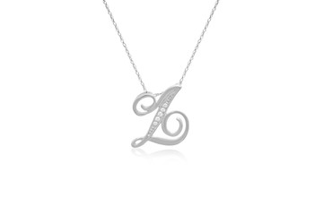 """Decorative Initial """"Z"""" Necklace with Flawless Diamonds in Silver"""