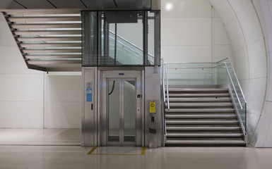 Stairs and elevator.
