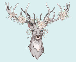 deer with wedding decorations