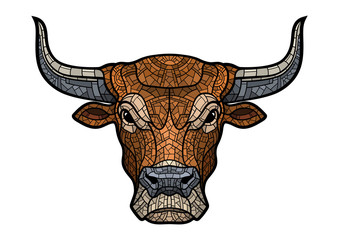 Bull head isolated illustration