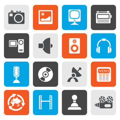 Flat Media and household  equipment icons - vector icon set