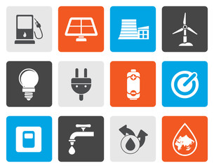 Flat Ecology, power and energy icons - vector icon set