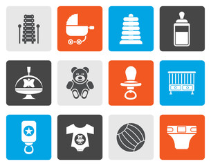 Flat Child, Baby and Baby Online Shop Icons - Vector Icon Set