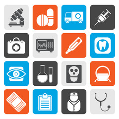Flat medical, hospital and health care icons - vector icon set