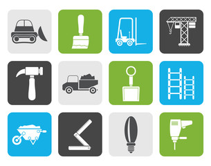 Flat Building and Construction equipment icons - Vector Icon Set