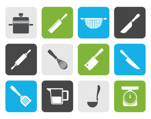 Flat Cooking equipment and tools icons - vector icon set