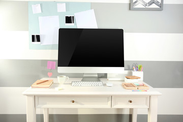 Modern workplace with computer on the table