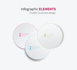 vector infographics element / modern paper infographics circles with dashed border for options