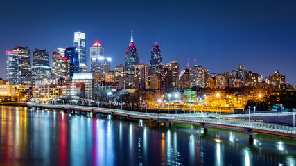Fototapete - Philadelphia skyline by night