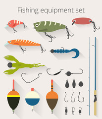 Fishing set of accessories for spinning fishing with crankbait lures and twisters and soft plastic bait fishing float