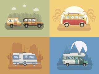 RV Travel Concept Landscapes in Flat Design