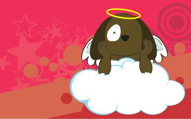 sweet cherub dog cartoon background in vector format very easy to edit