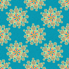 ??????Flowers abstract seamless vector pattern retro style on a blue background