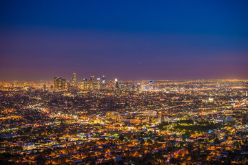 Fotobehang Las Vegas downtown Los Angeles from Griffith Observatory at sunset