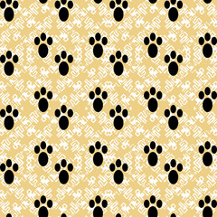 paw prints on a beautiful background vector seamless pattern