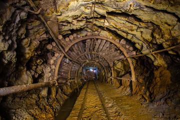 Underground gold mine ore tunnel Berezovsky mine Ural