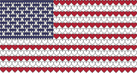 """The American flag in hearts. In the colors Blue, white and red.  Also known as """"stars and stripes""""."""
