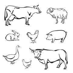 Silhouettes of Farm animal