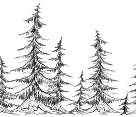 Seamless border with pencil sketch trees. Vector element