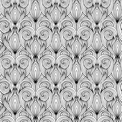 Seamless texture with black and white doodle hearts