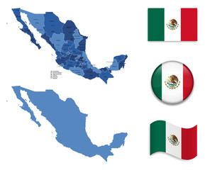 High Detailed Map of Mexico With Flag Collection