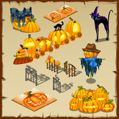 Halloween characters, pumpkins and decorations