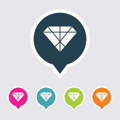 Very Useful Editable Diamond Icon on Different Colored Pointer Shape. Eps-10.