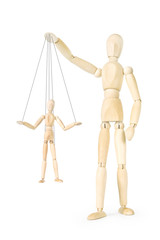 Man holds in his hands the marionette on threads. Abstract image with a wooden puppet