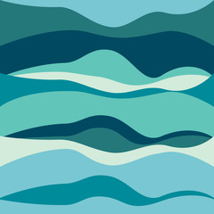 Bright blue abstract waves background. Vector sea illustration.